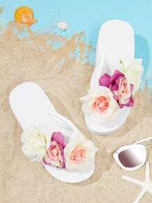Flower Applique Wedge Flip Flops