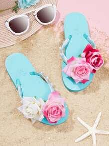 Flower & Faux Pearl Flip Flops