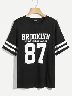 Men Varsity Print T-shirt