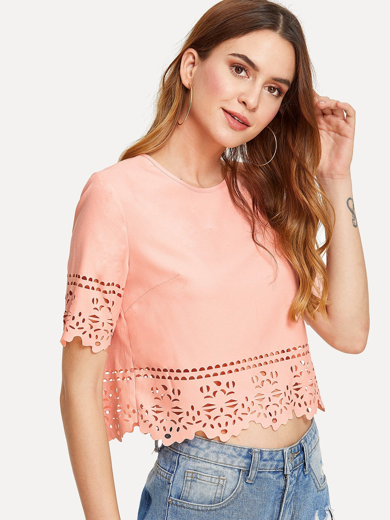 Keyhole Back Laser Cut Crop Top cut and sew keyhole back top