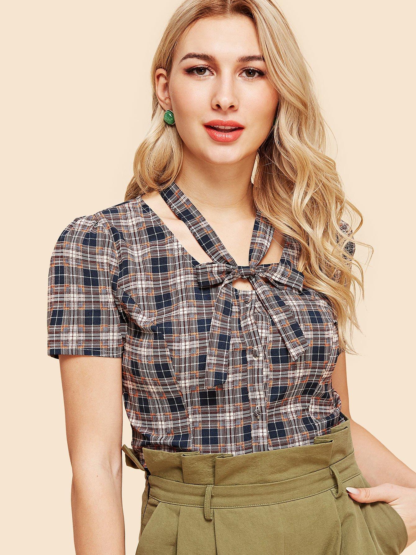 Tie Neck Button Up Plaid Shirt button up plaid pocket shirt