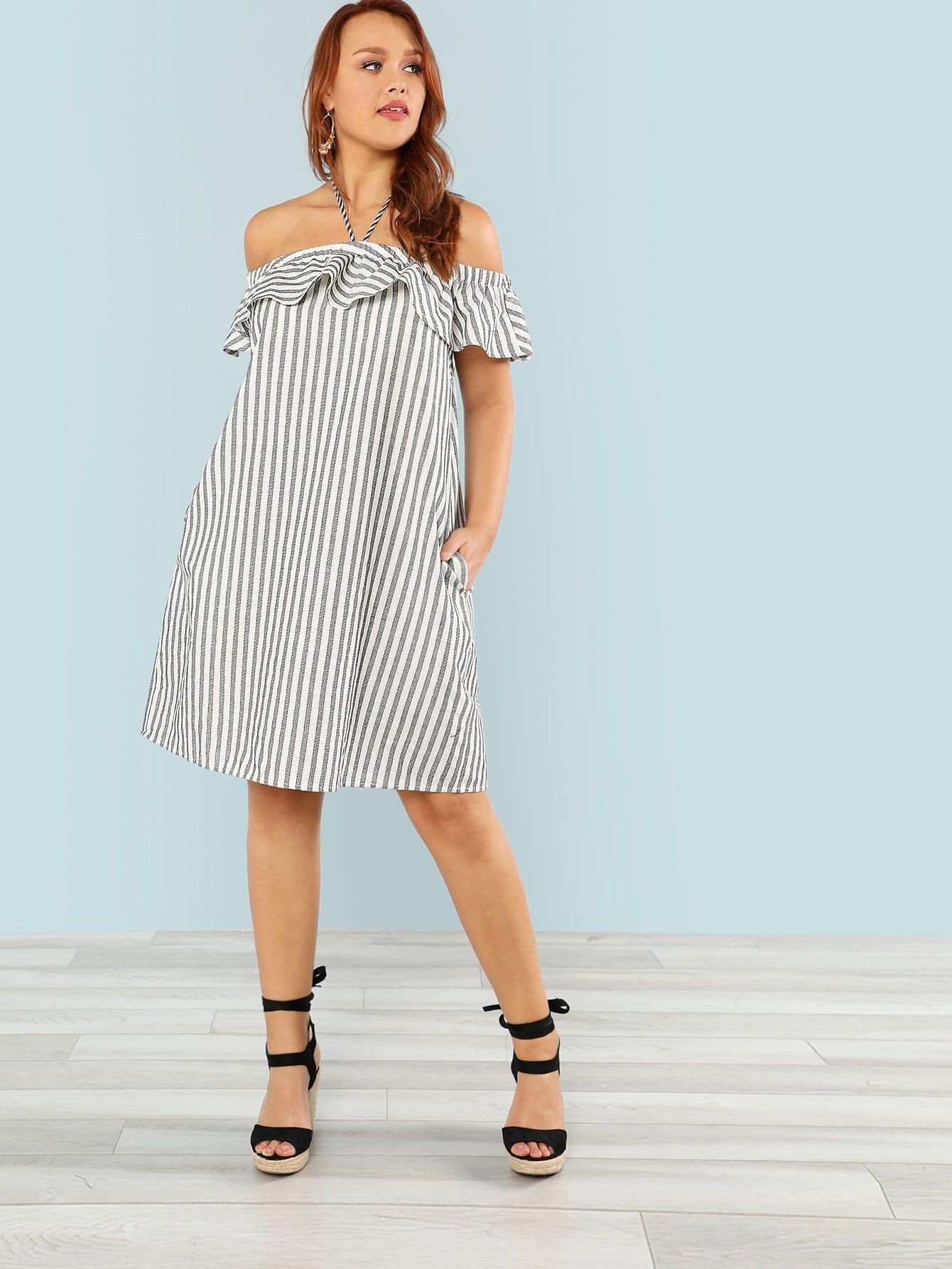 Plus Ruffle Off Shoulder Striped Dress цена