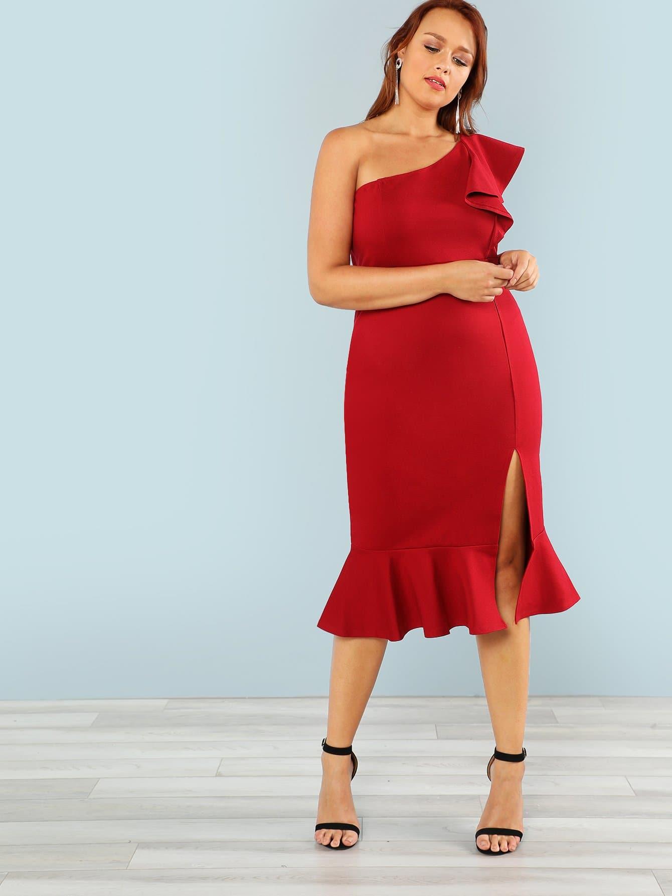 One Shoulder Slit Ruffle Hem Dress one shoulder slit back fitted dress