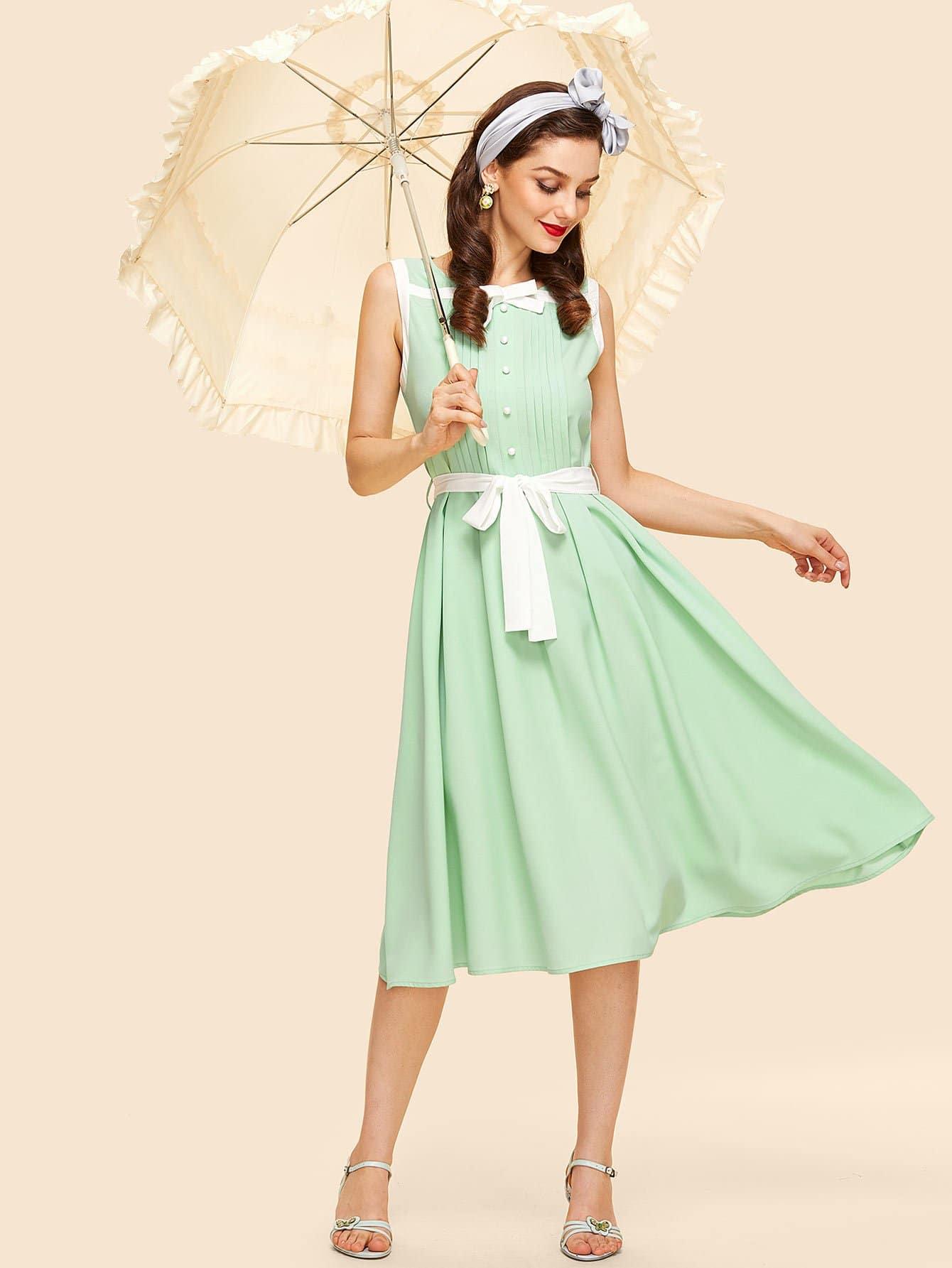 Купить Платье плиссированное с контрастным поясом, Julie H., SheIn