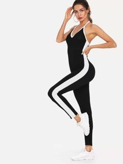 Color Block Side Halter Cami Jumpsuit