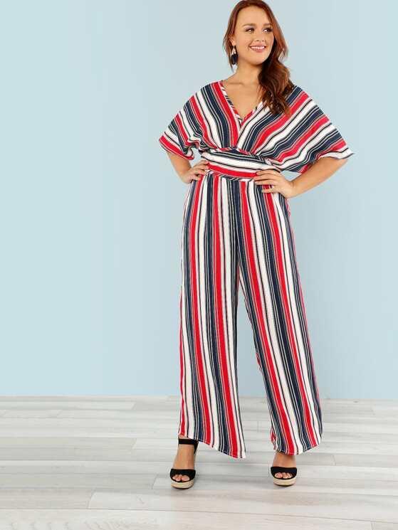 be8ca69e380 Plus V Neck High Waist Wide Leg Striped Jumpsuit