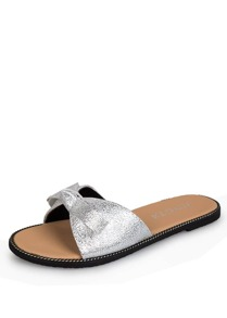 Knotted Bow Slide Sandals