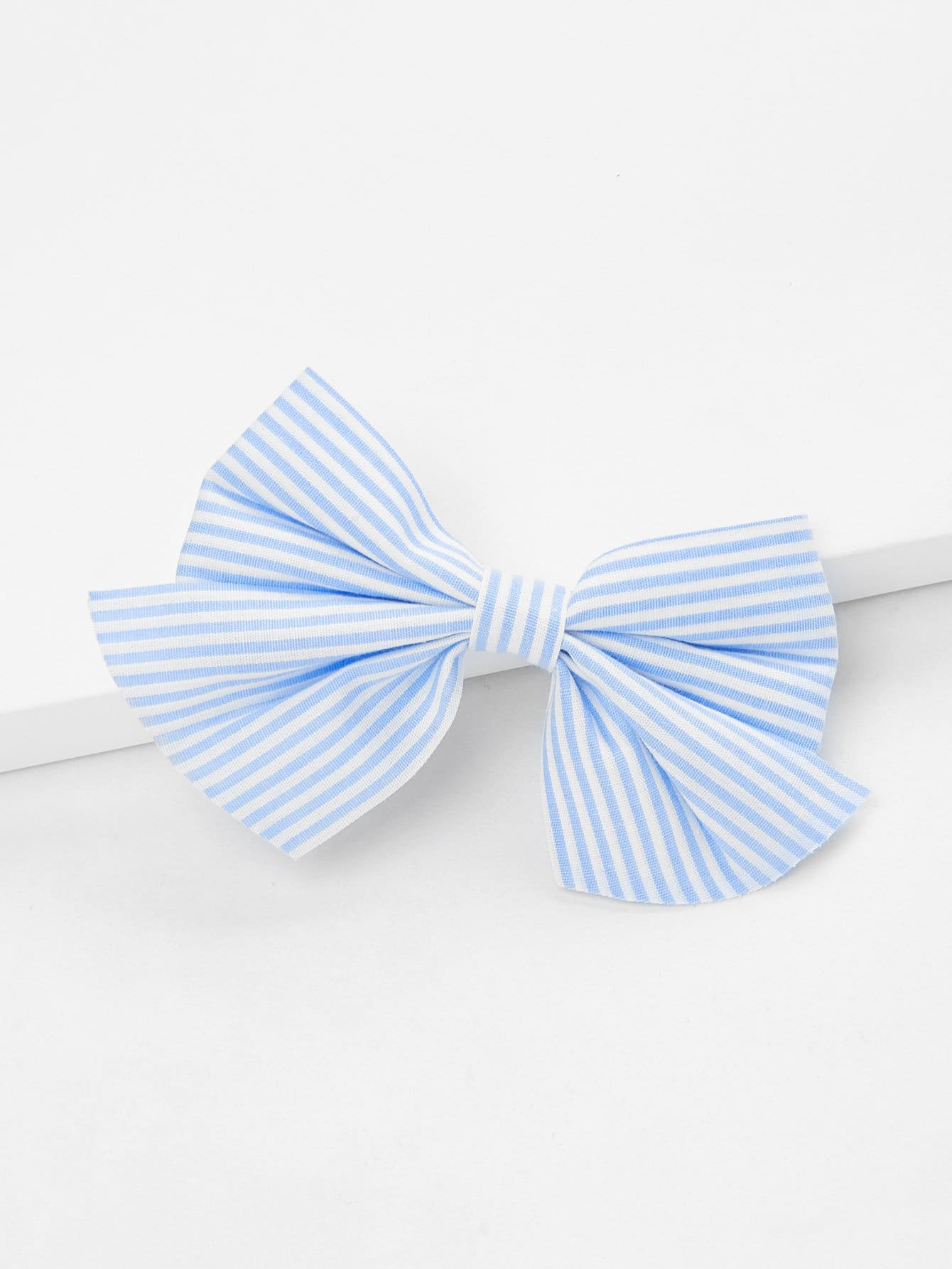 Striped Bow Hair Clip