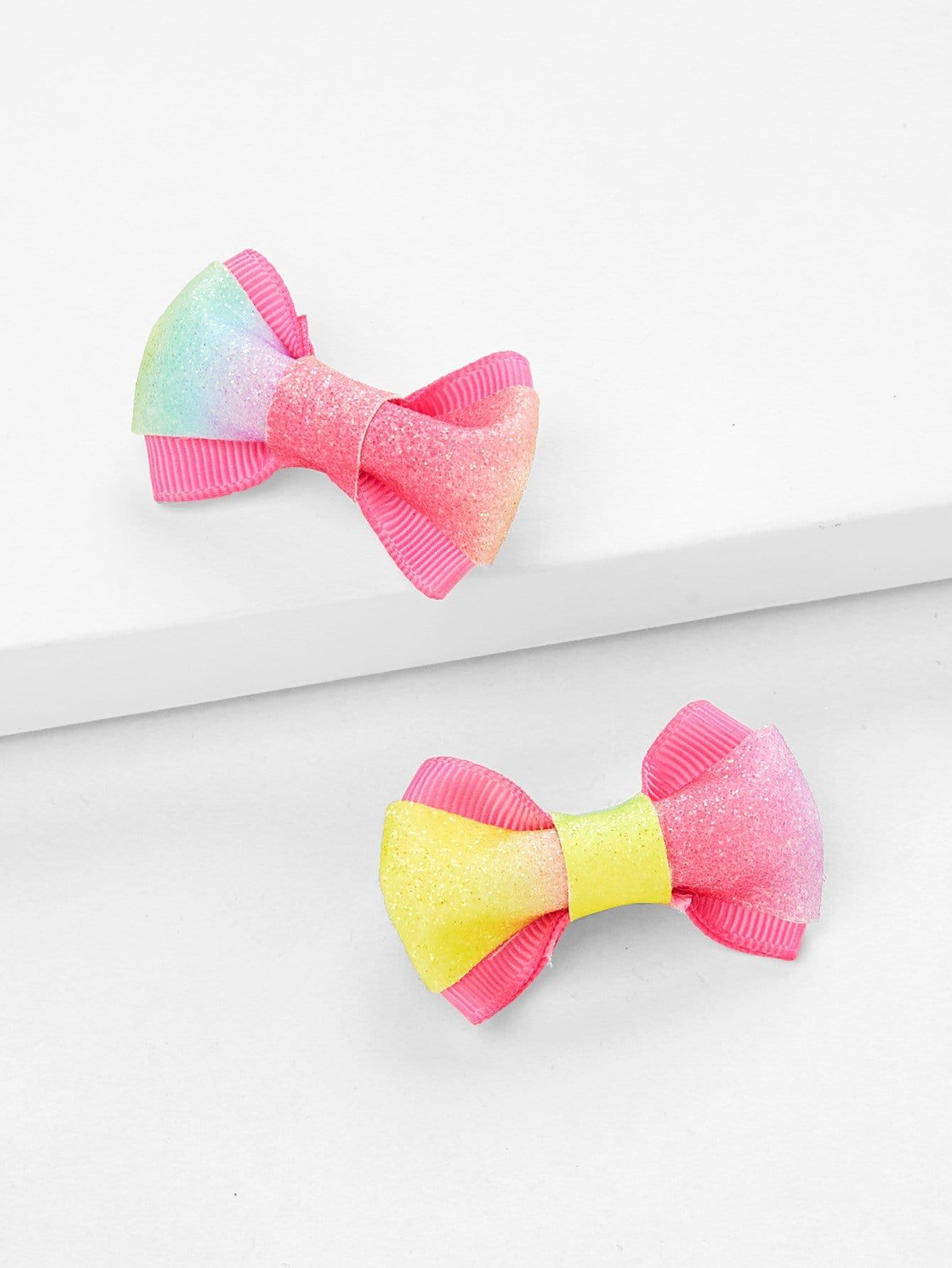 Glitter Bow Hair Clip 2pcs hair clip women baby girl big glitter hair bow kids hairpins hair clips for children hair accessories toddler headwear