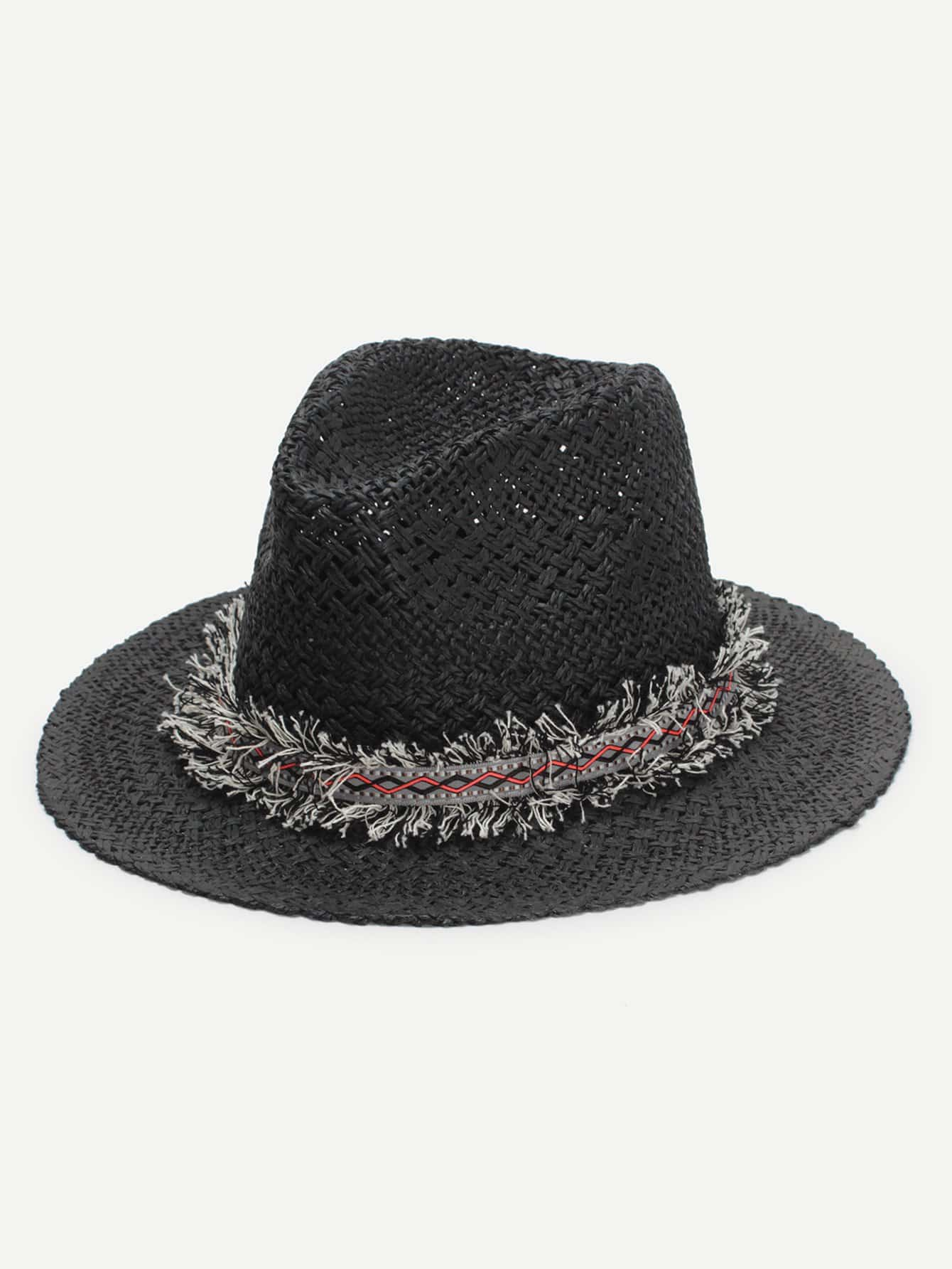 цены Frayed Band Straw Fedora Hat