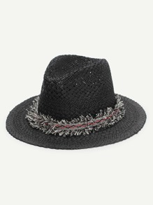 Frayed Band Straw Fedora Hat