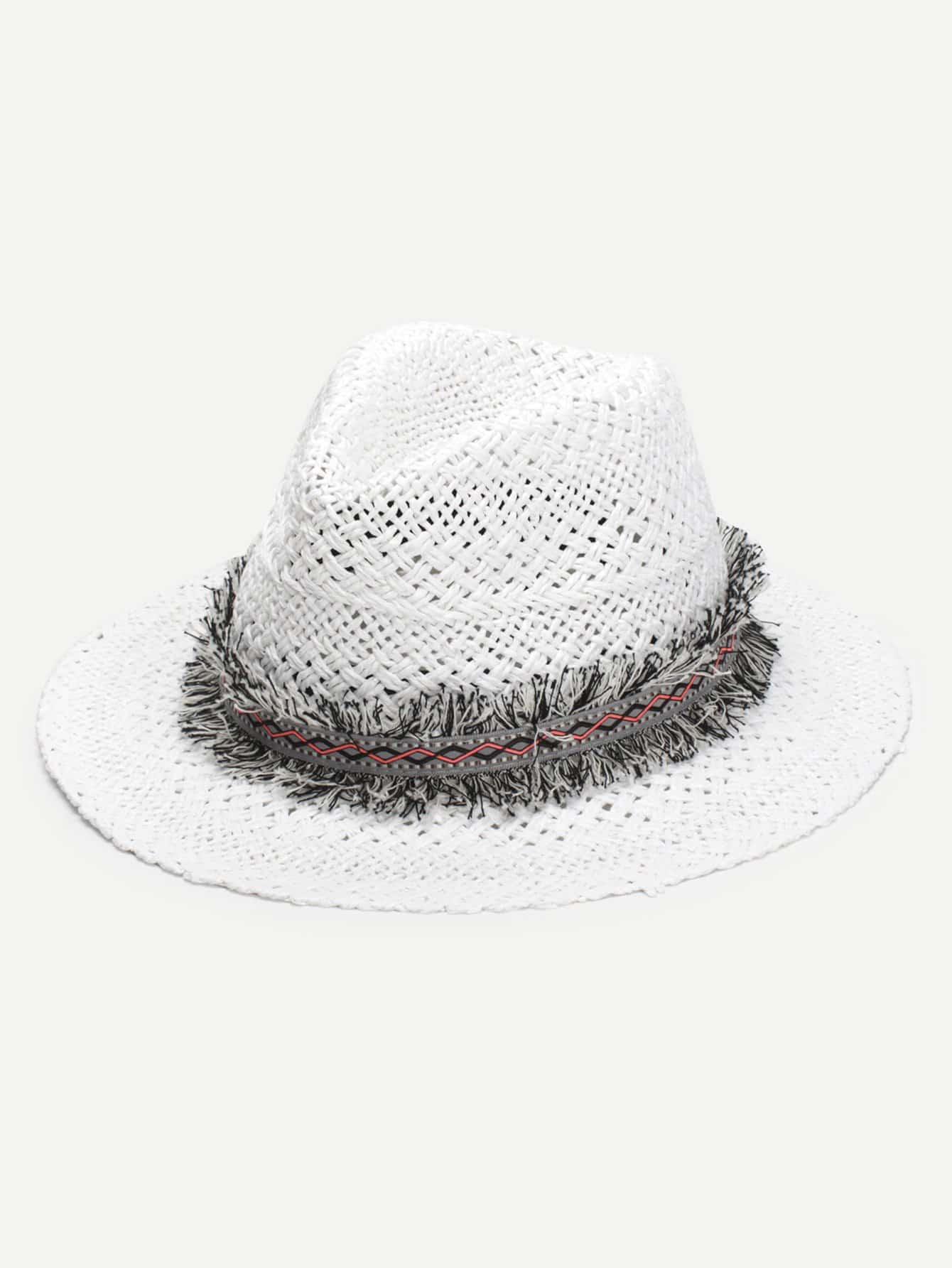 Frayed Band Straw Fedora Hat knot band straw hat