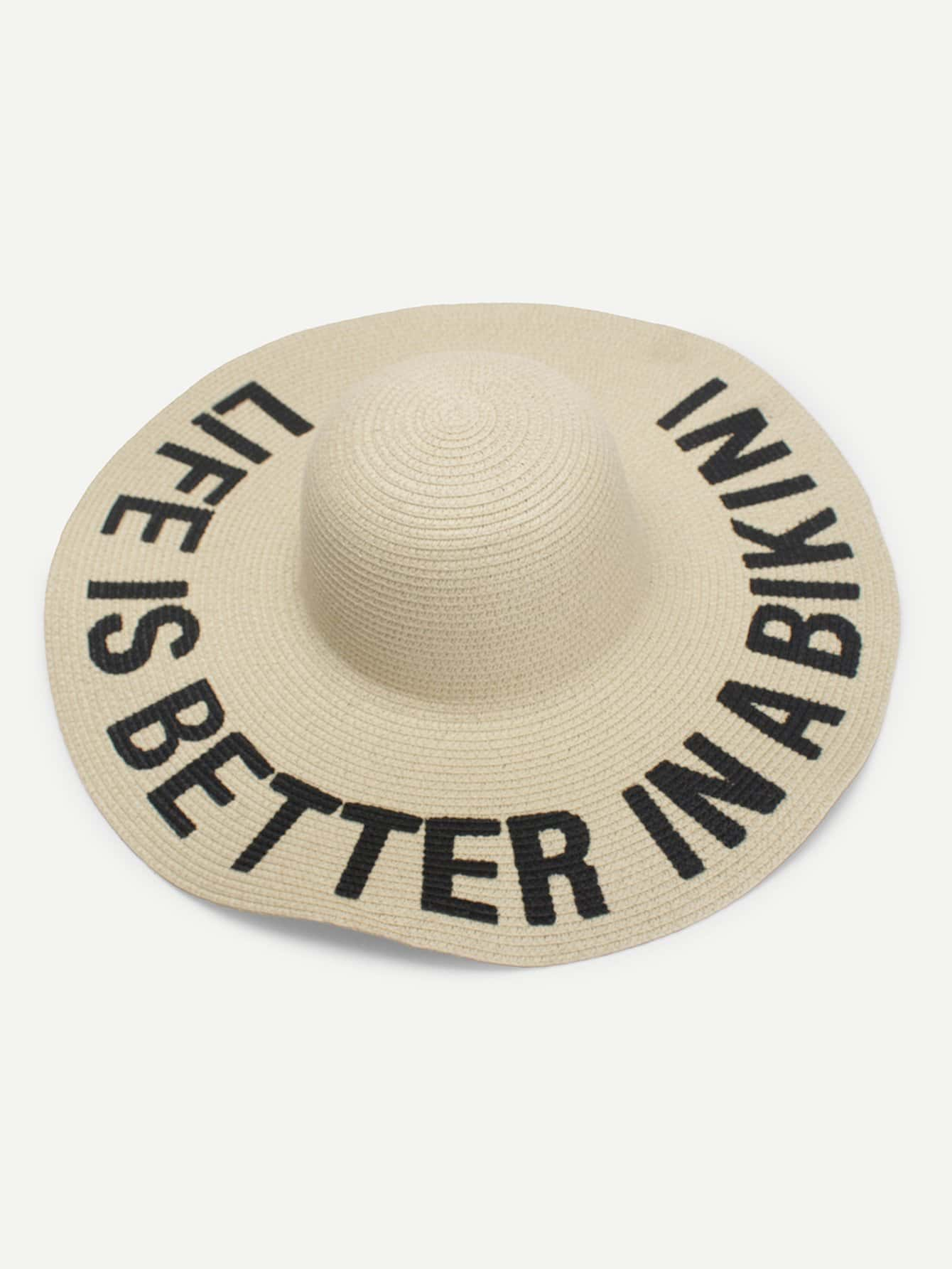 Letter Print Wide Brim Straw Hat wide brim straw hat