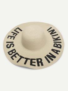 Letter Print Wide Brim Straw Hat
