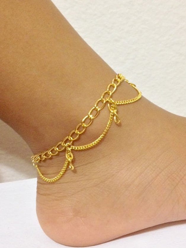 Gold Multi-Layered Tasseled Anklet gold multi layered tasseled anklet