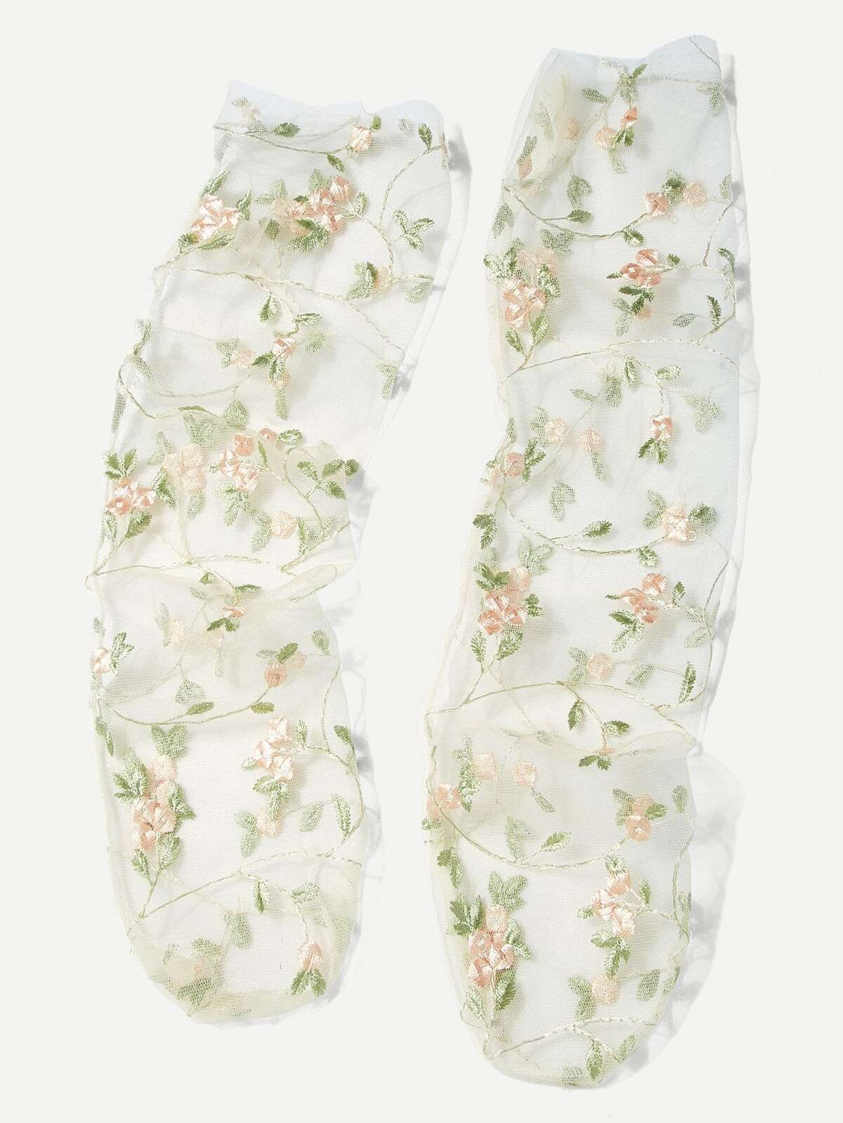 Embroidered Flower Mesh Slouch Socks by Romwe