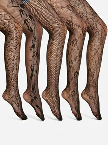 Flower Pattern Tights 5pairs