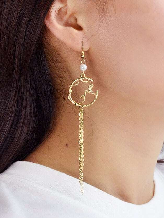Rote Pentagramm asymmetrische Ohrringe