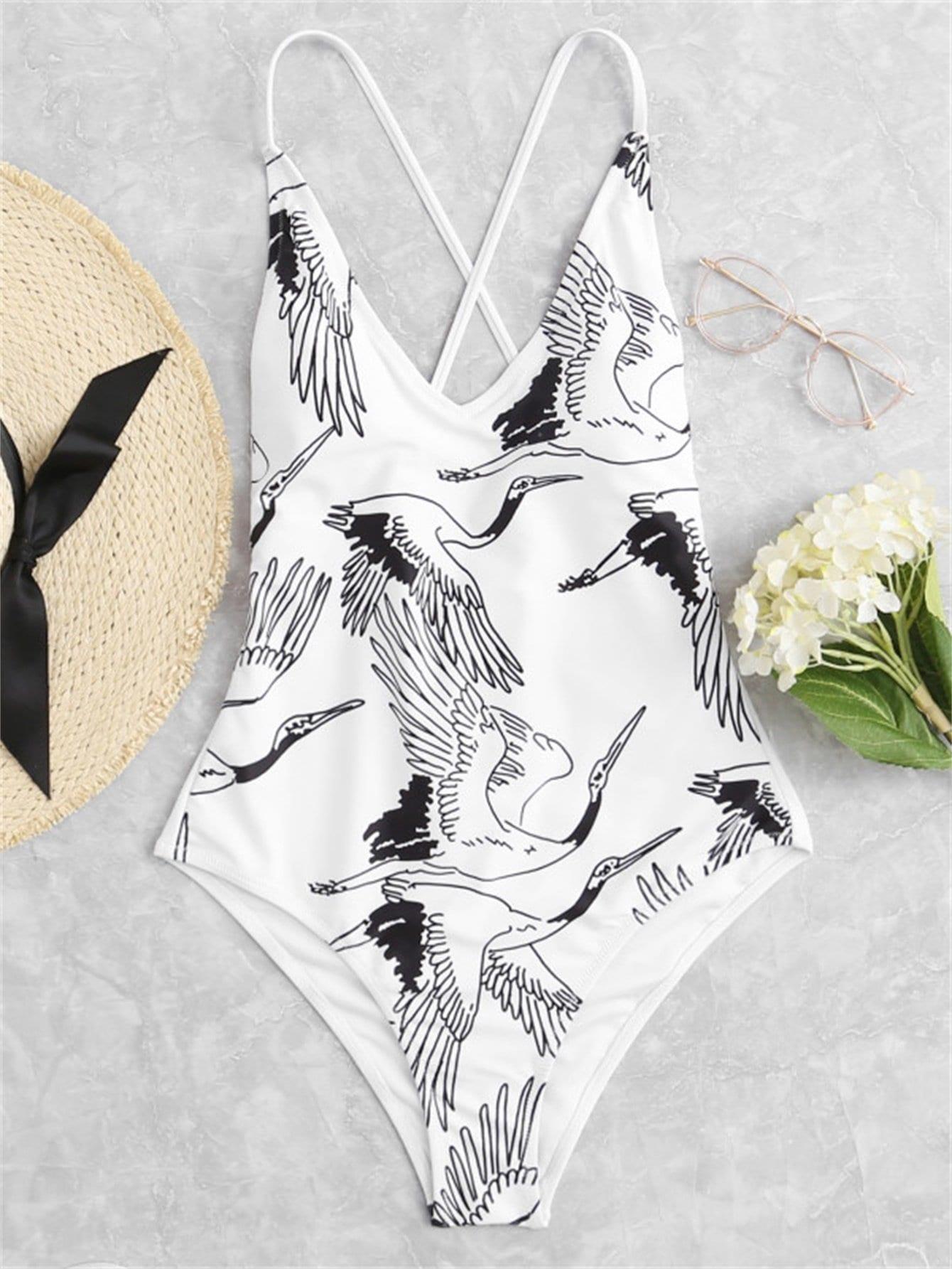 Plus Criss Cross Crane Print Swimsuit plus size criss cross swimsuit
