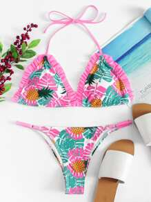 Tropical Print Ruffle Bikini Set