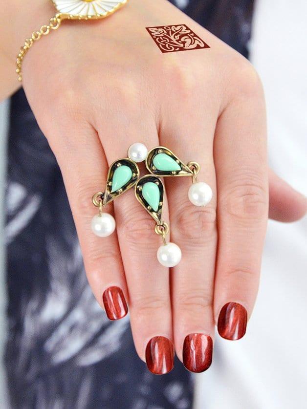 Green Pearl Gemstone Ring все цены