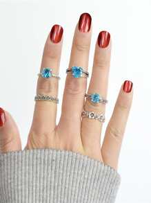 Flower Set Blue Diamond Ring