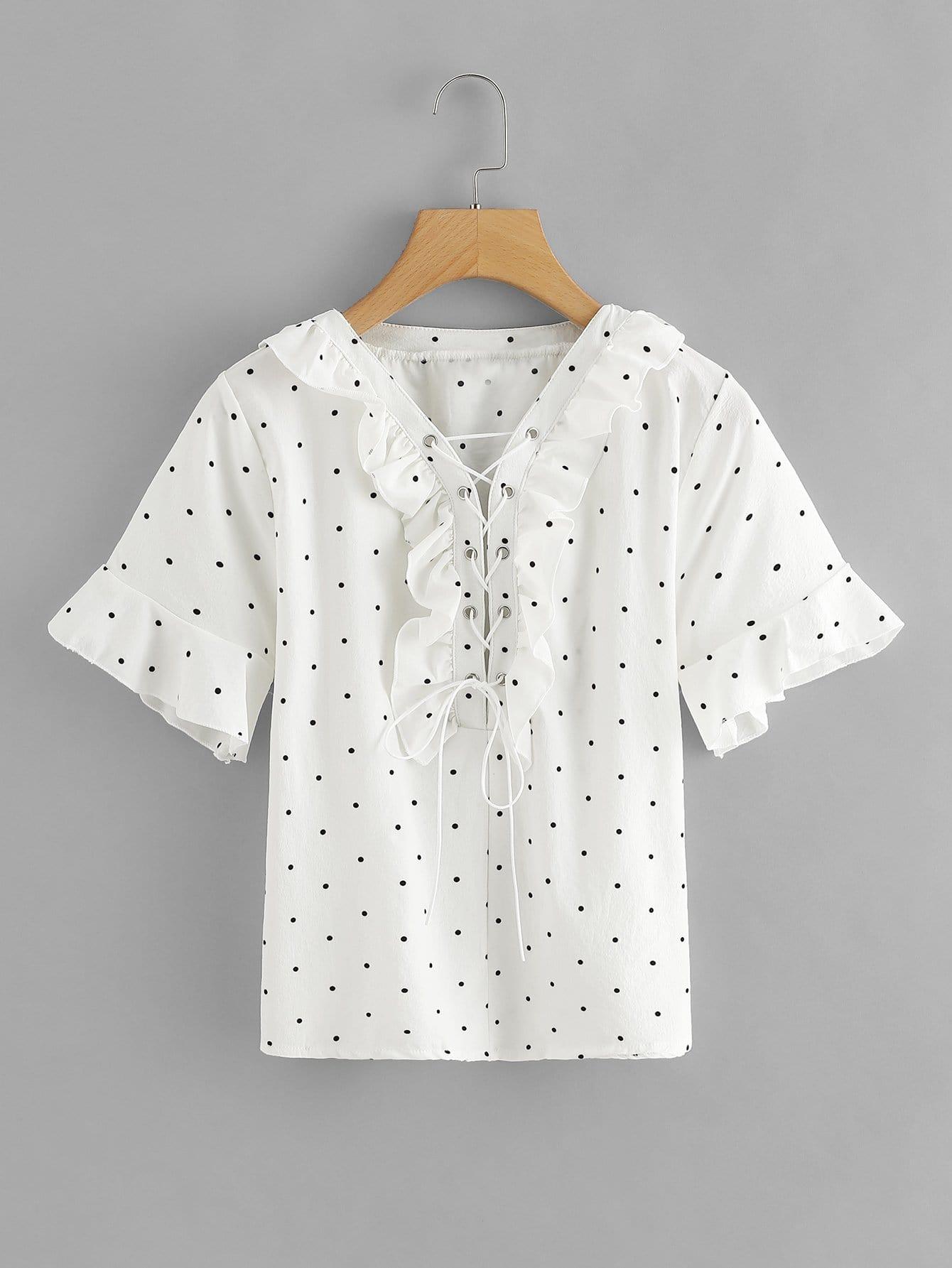 Lace Up Ruffle Dot Print Blouse lace up ruffle sleeve blouse