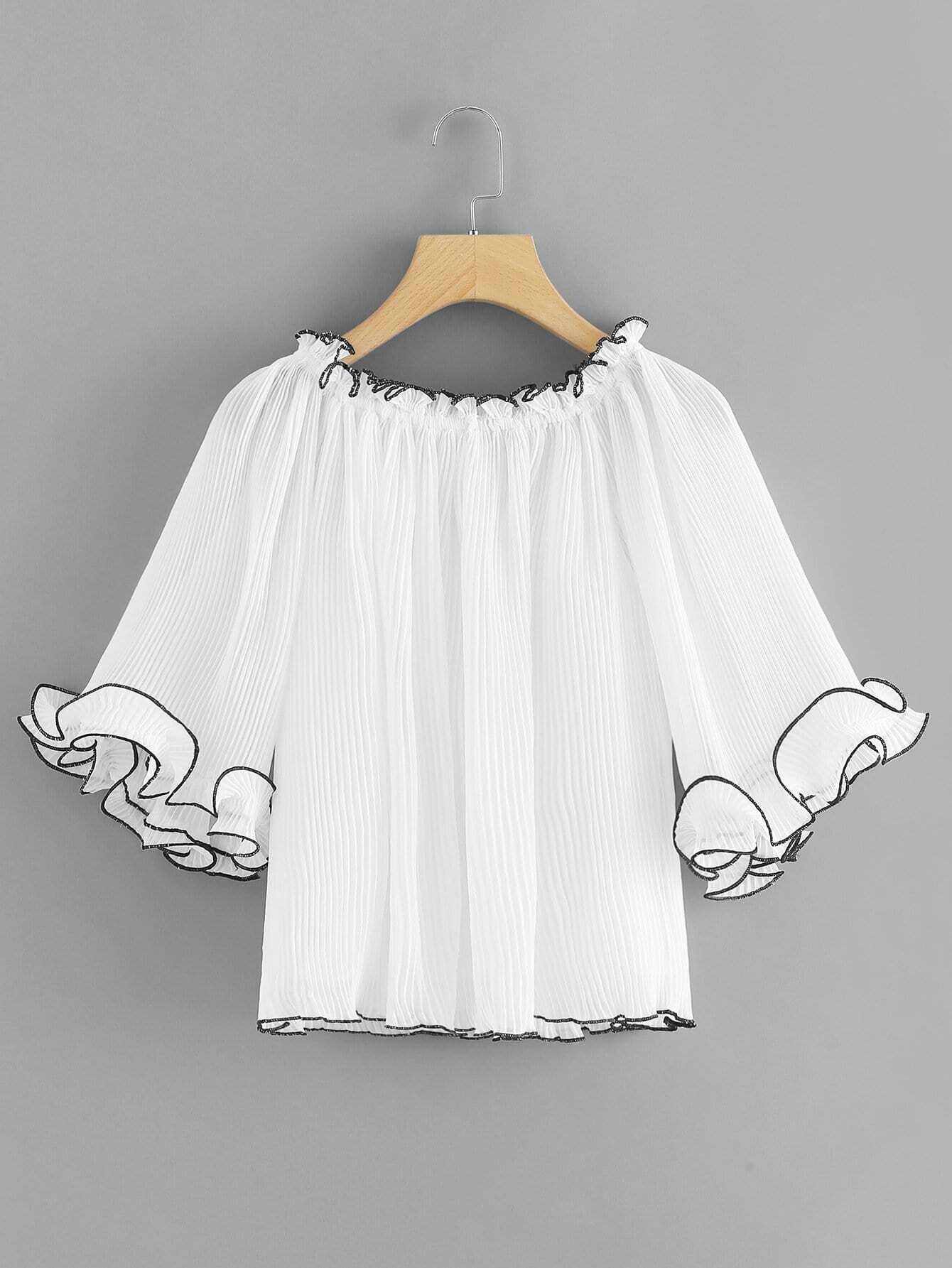 Ruffle Sleeve Pleated Top layered pleated ruffle sleeve solid top