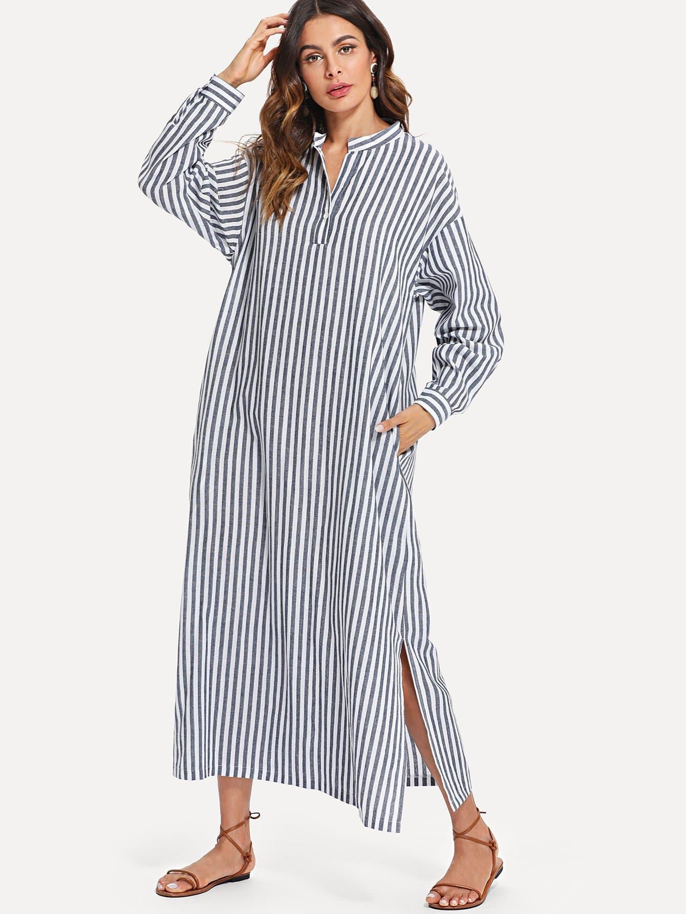 Hidden Pocket Split Side Longline Stripe Dress kangaroo pocket split side dress
