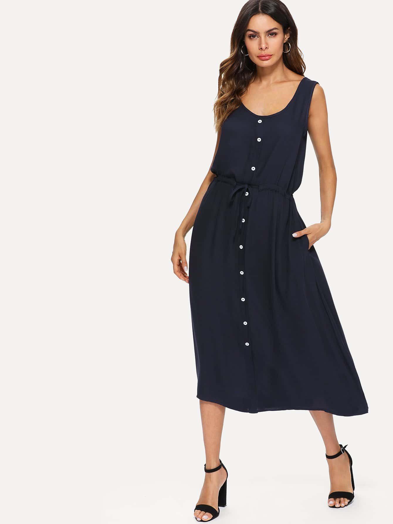 Drawstring Waist Tank Dress drawstring waist tank dress