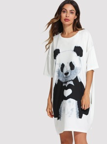 Panda Print Tee Dress