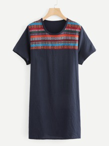 Tribal Embroidered Tee Dress