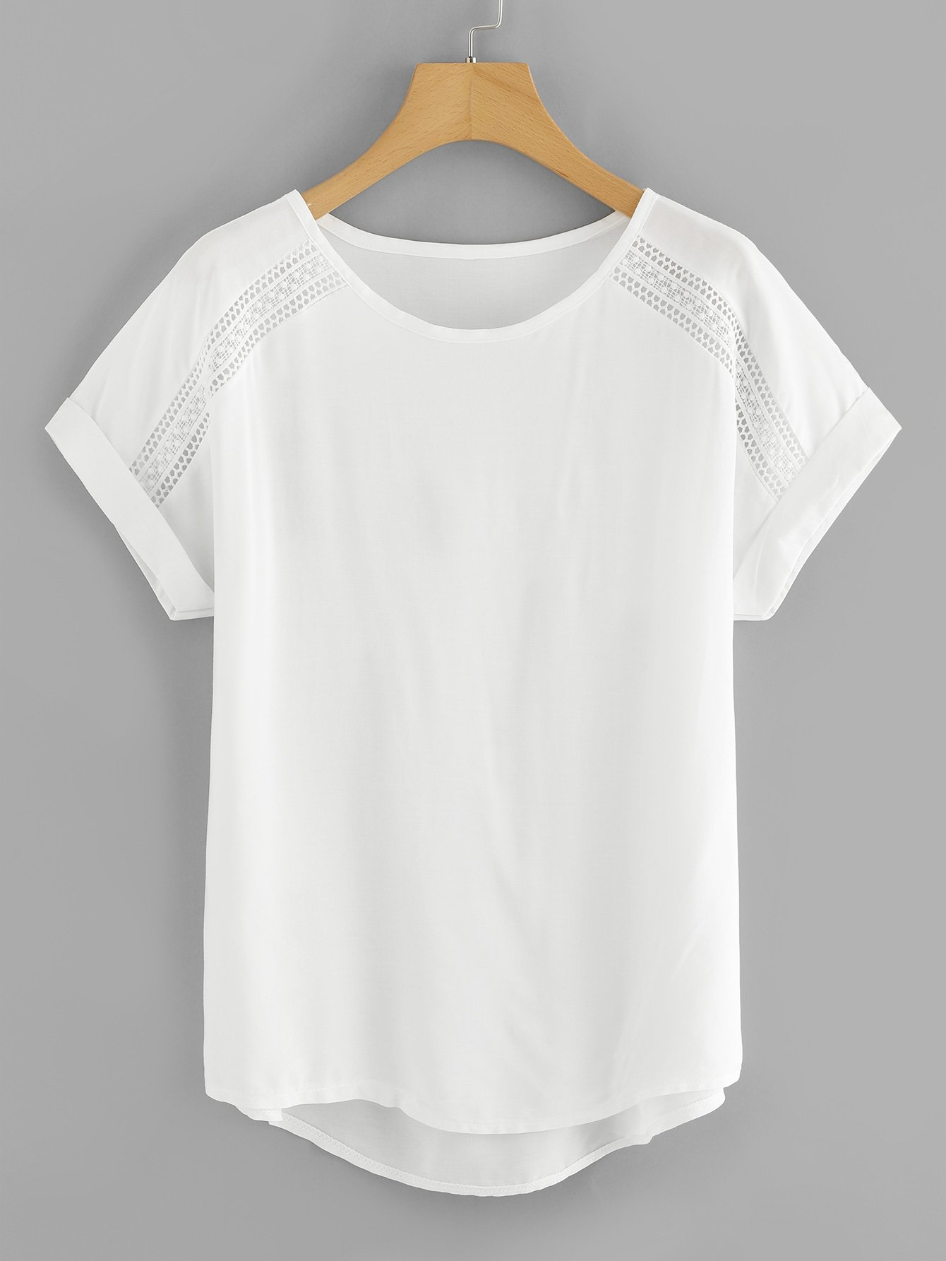 Roll Up Sleeve High Low Tee long sleeve high low lace insert tee