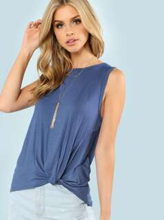 Twist Dip Hem Solid Shell Top