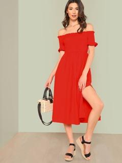 Frill Trim Slit Hem Bardot Dress