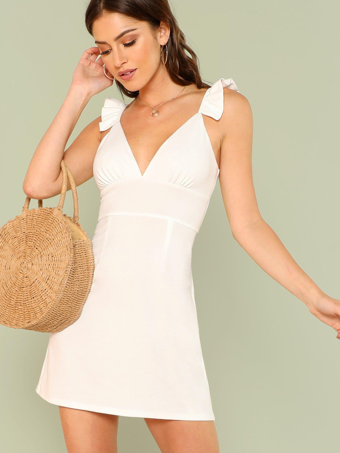 Open Back Ruffle Strap Dress spaghetti strap chiffon open back dress