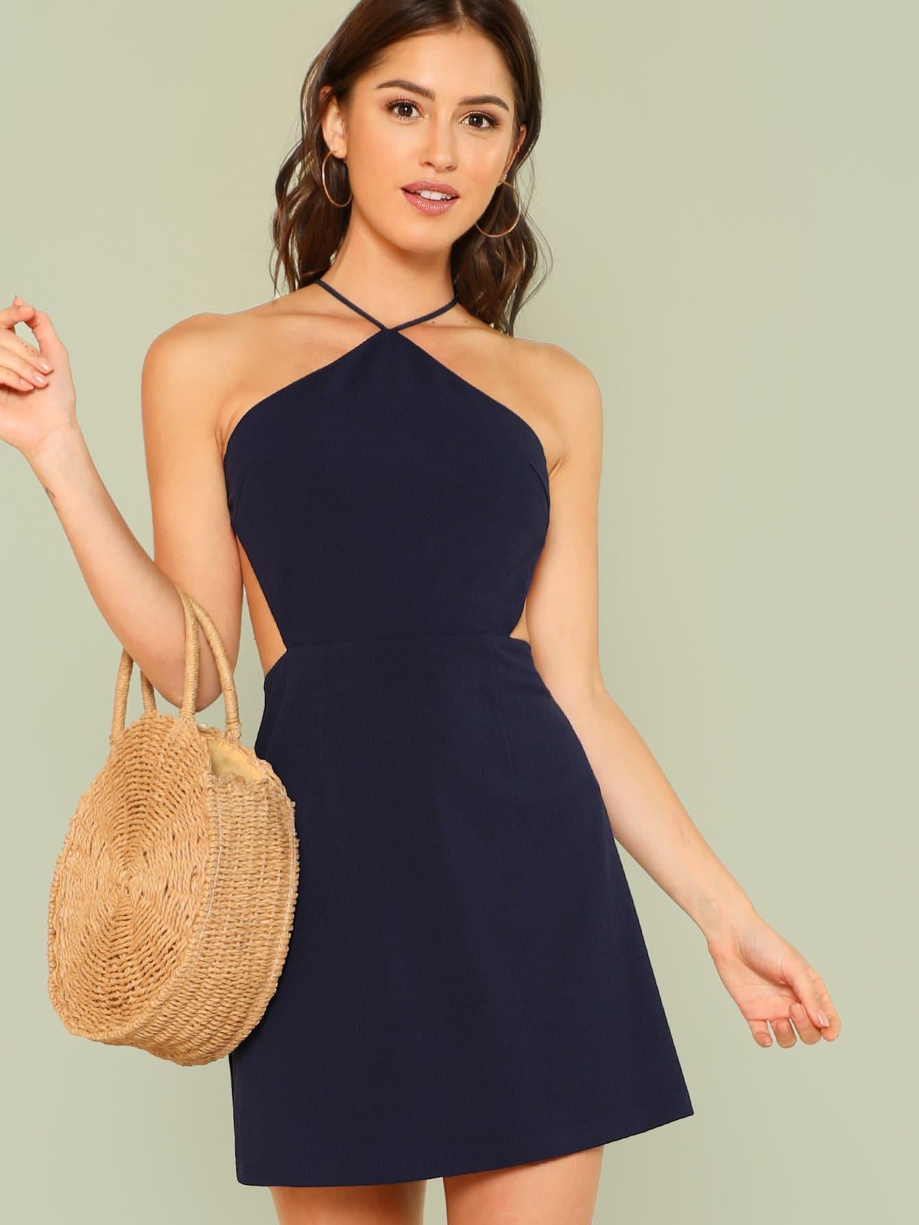 Купить Однотонное платье с открытой спиной, Gigi Paris, SheIn