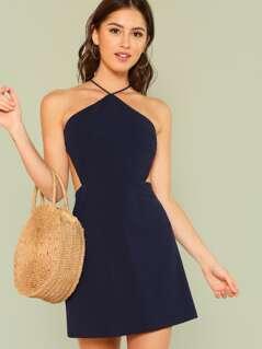 Strappy Back Solid Halter Dress