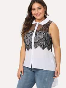 Contrast Lace Panel High Low Sleeveless Blouse