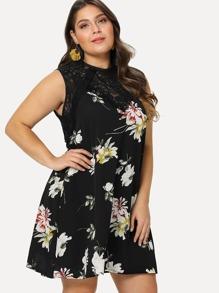 Plus Lace Insert Floral Tunic Dress