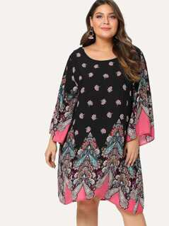 Plus Flower & Paisley Print Tunic Dress