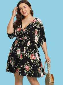 Overlap Front Elastic Waist Floral Dress