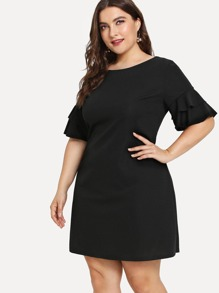 Ruffle Sleeve Tunic Dress