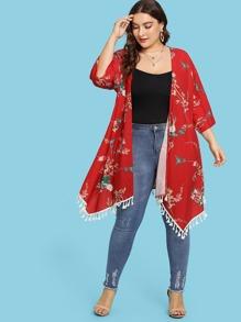 Tassel Hem Longline Floral Kimono
