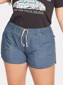 Drawstring Waist Denim Shorts