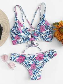 Crisscross Front Floral Bikini Set