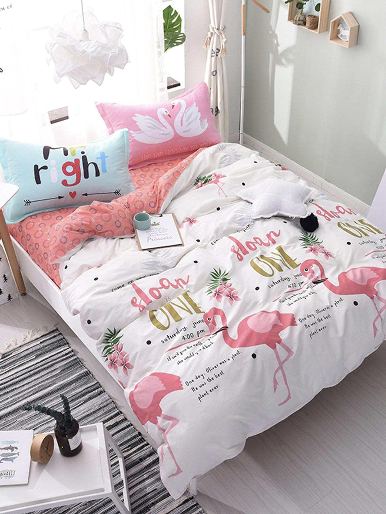Купить Комплект для кровати 4 шт. с принтом фламинго и надпись, null, SheIn