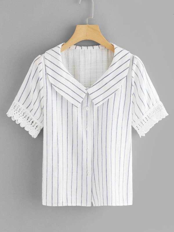 Crochet Cuff Striped Shirt by Sheinside