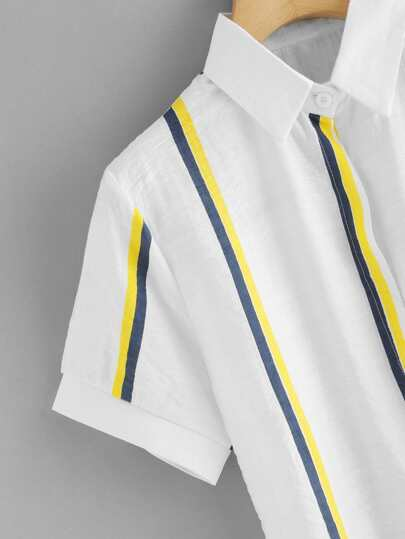 SheIn / Dip Hem Striped Shirt