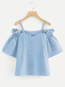 Open Shoulder Shirred Detail Top